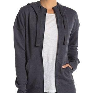 NEW Zella solaris full zip front hoodie gray